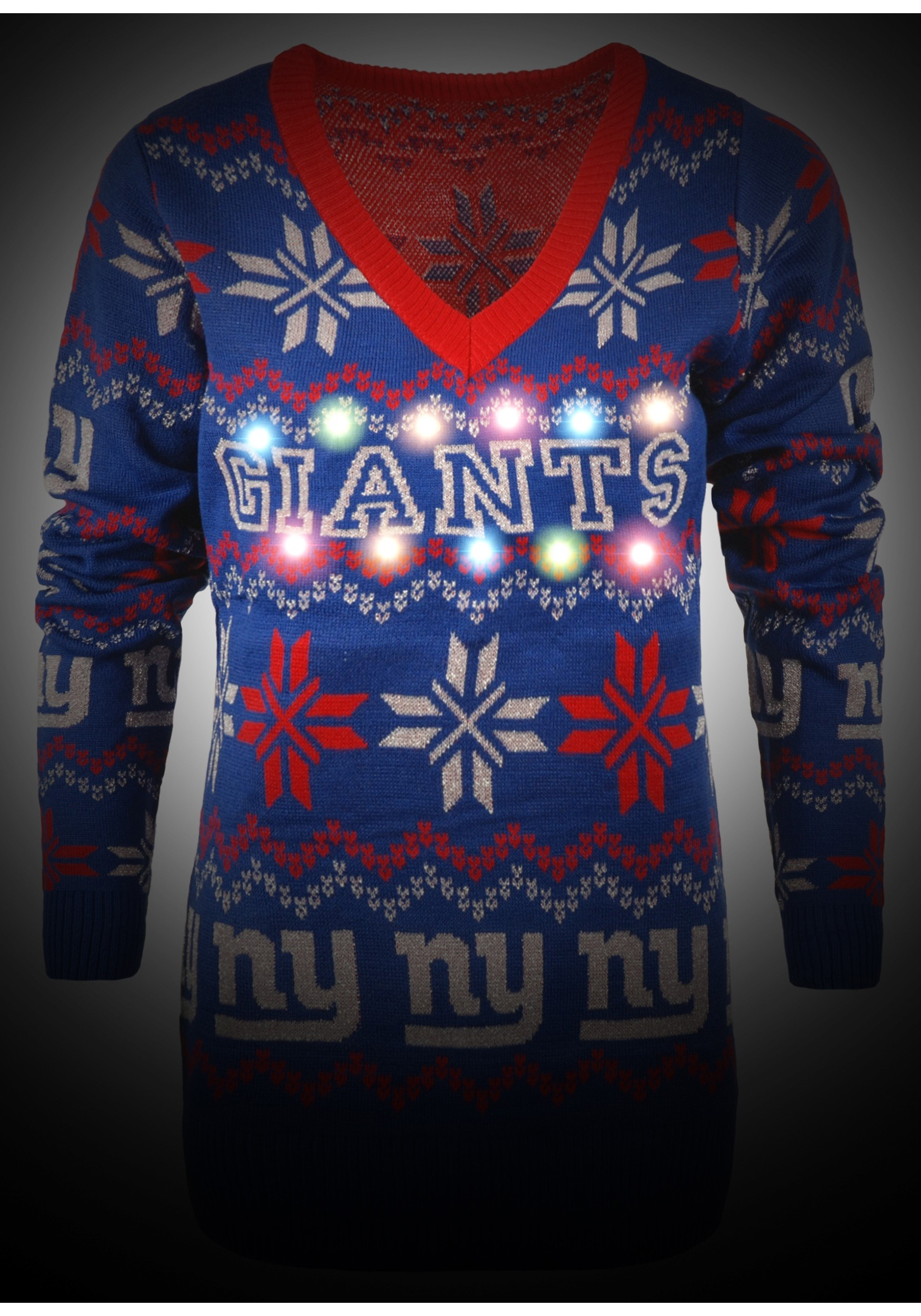 58a4d6eb5a0 Women s New York Giants Light Up V-Neck Bluetooth Ugly Christmas Sweater