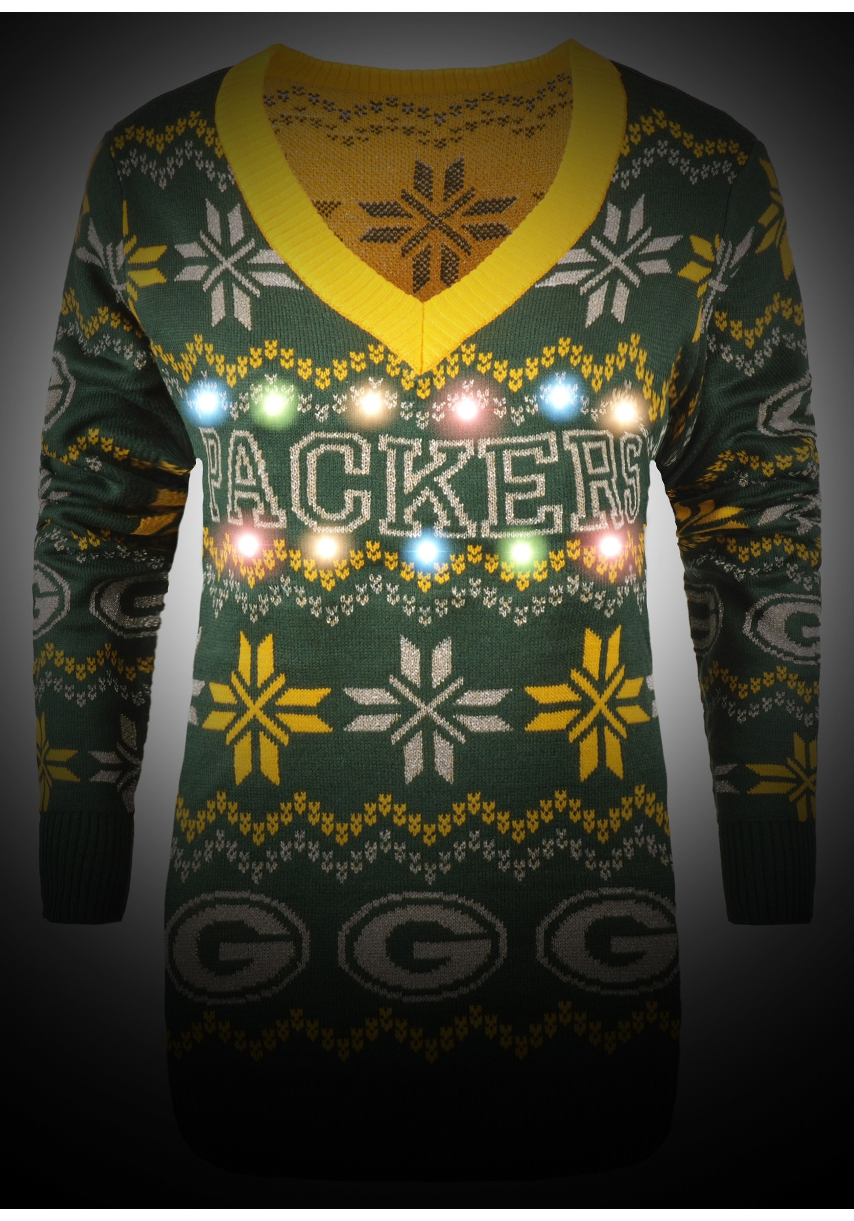 sports shoes cbf65 59ddd Green Bay Packers Womens Light Up V-Neck Bluetooth Sweater