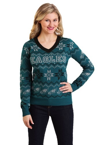 Philadelphia Eagles Womens Light Up V-Neck Bluetooth Sweater