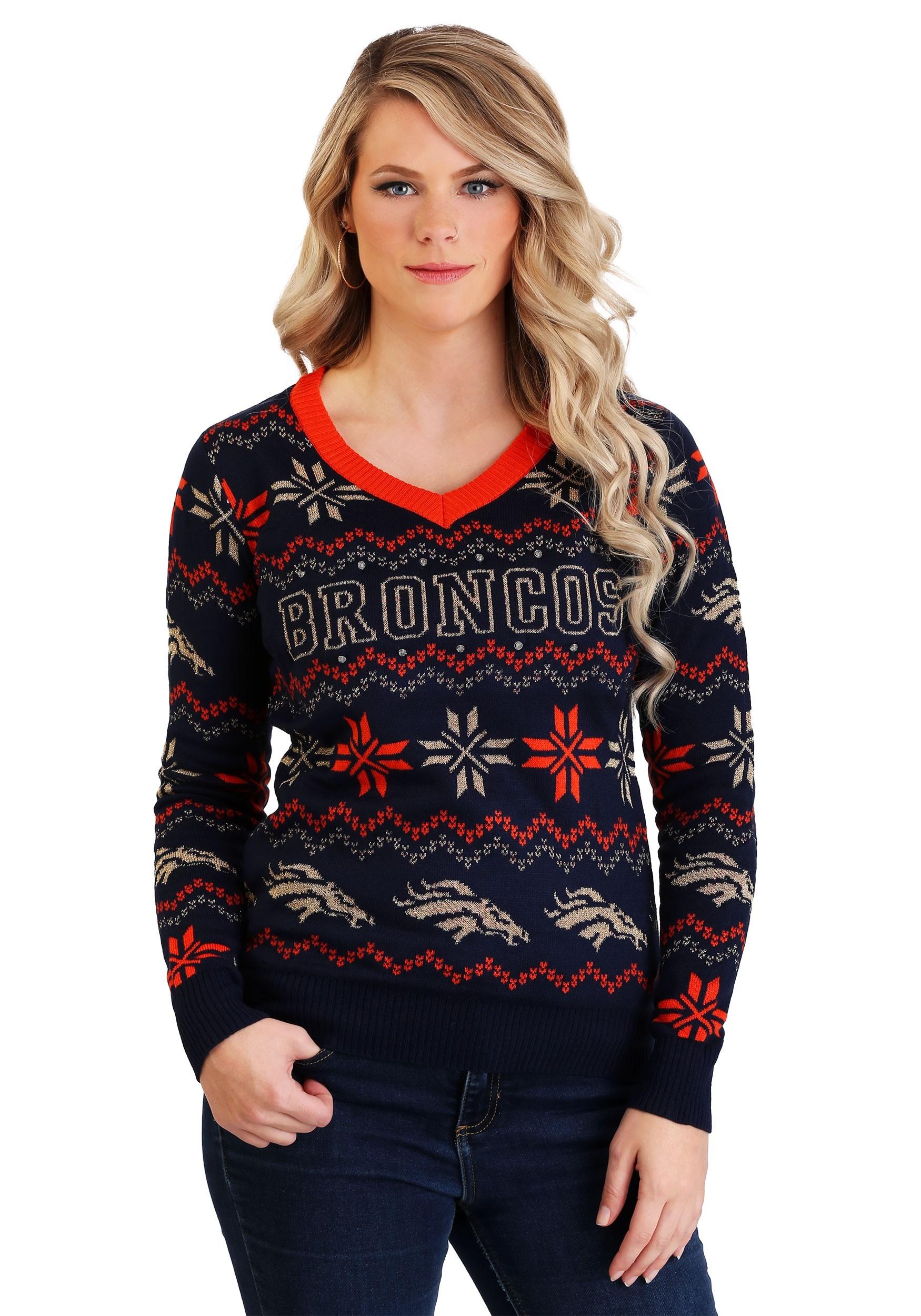 Denver Broncos Light Up V-Neck Bluetooth Sweater for Women b421f7ef2