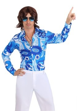 Men's Blue Flower Disco Shirt