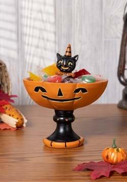 Black Cat Resin Treat Stand Halloween Decor