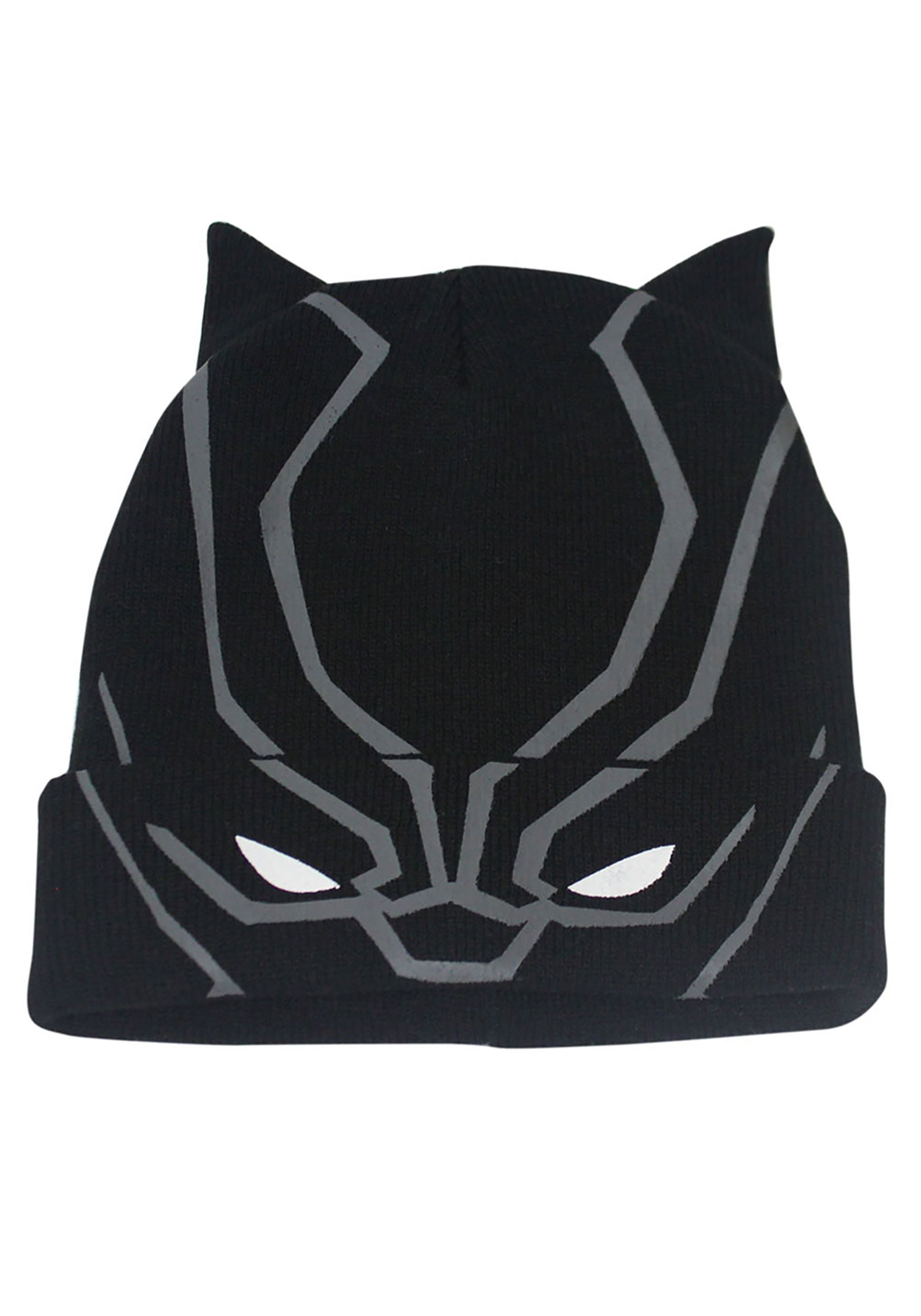 Adults Black Panther Flip Down Knit Beanie