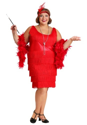 Red Plus Size Flapper Dress
