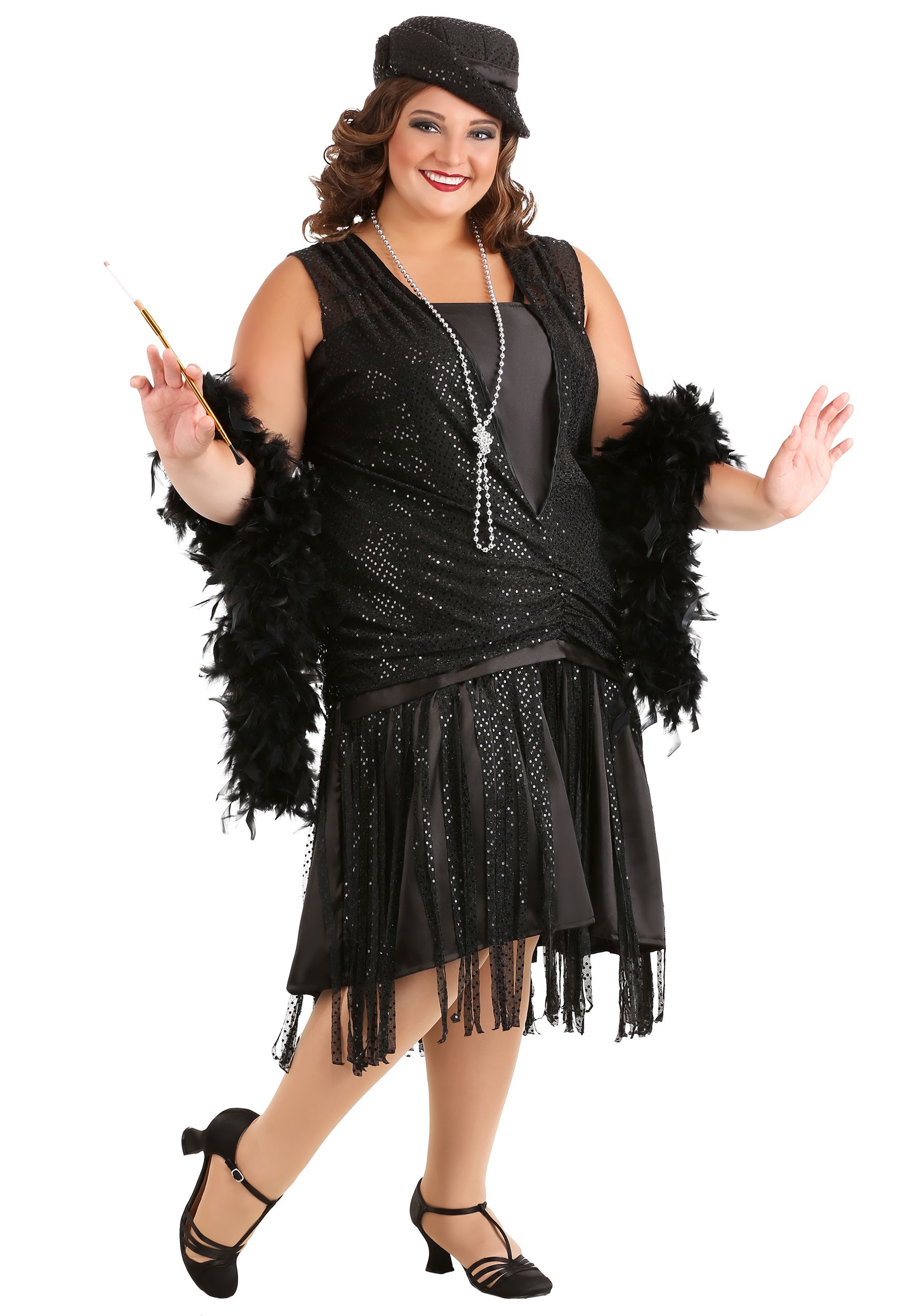6ca2539908f Plus Size Black Jazz Flapper Costume
