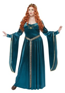 Women's Plus Lady Guinevere Teal Costume