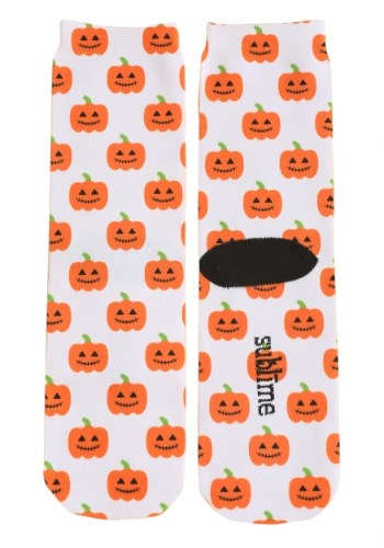 Halloween Pumpkins Adult White Crew Socks for Adults