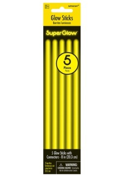 """Yellow Glowsticks - 8"""" Pack of 5"""