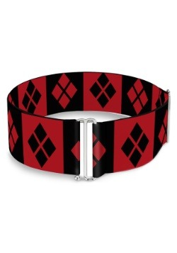 Harley Quinn Diamonds Red/Black Cinch Waist Belt