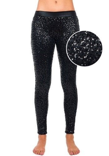 Tipsy Elves Women's Black Sequin Leggings