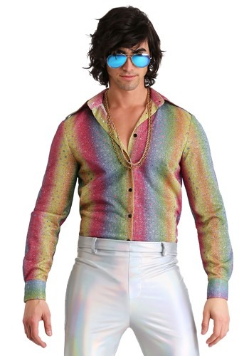 Mens Rainbow Sparkle Disco Shirt