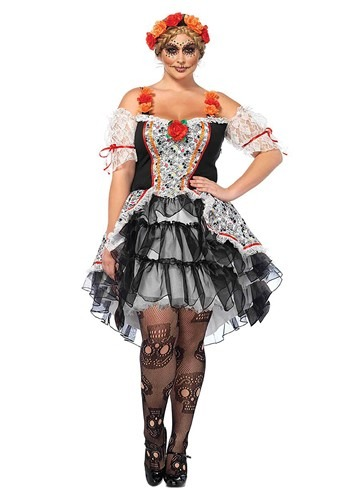 Women's Plus Sugar Skull Senorita Costume