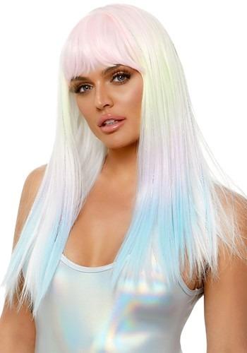 Women's Black Light Pastel Rainbow Wig