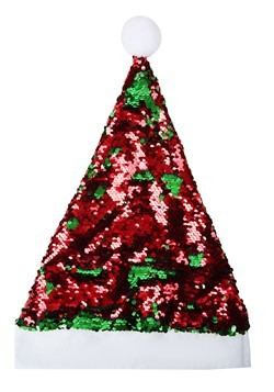 Red and Green Flip Sequin Santa Hat