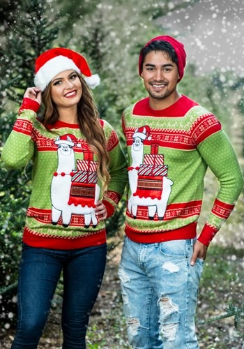 Adult Christmas Llama Unizex Ugly Sweater update2