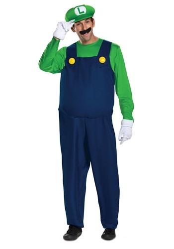 Super Mario Brothers Mens Luigi Deluxe Costume