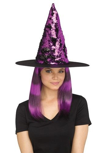 Flip Sequin Witch Hat Purple