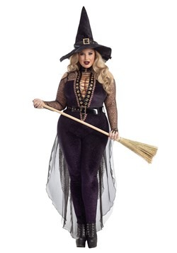 Women's Plus Size Midnight Violet Witch Costume