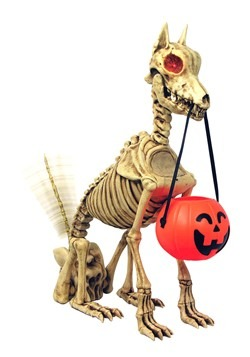 Animatronic Skeleton Dog With Wagging Tail Prop Decoration