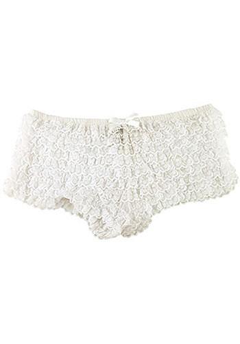 Sexy White Ruffle Tanga Panties