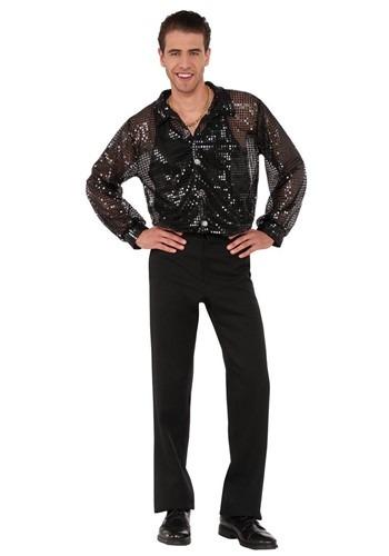 Men's Black Sequin Disco Shirt