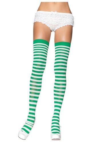 Green and White Nylon Stockings
