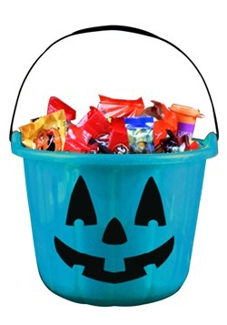 Teal Trick and Treat Pumpkin Bucket