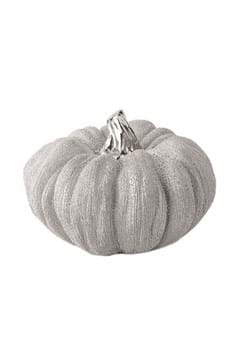 5in Silver Metallic Textured Ceramic Pumpkins