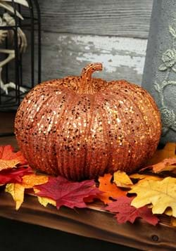 8in Orange Glitter Pumpkin