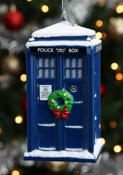 Doctor Who Tardis with Wreath & Light Effect Ornament