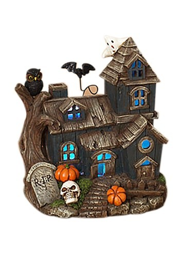"8.3""H Lighted Resin Haunted House"