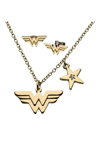 DC Comics Wonder Woman Logo Earring Necklace Set