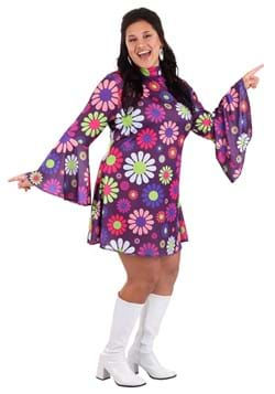 Womens Plus Size Groovy Flower Power Costume