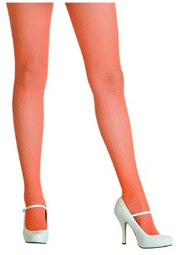Neon Orange Fishnet Tights