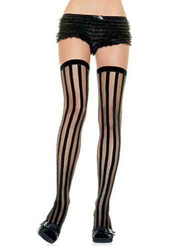 Black Striped Stockings