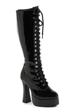 Womens Black Lace Knee High Boots
