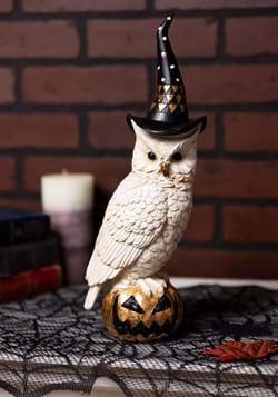 "14"" White & Gold Owl w/Witch Hat on Gold Jack-O-La"