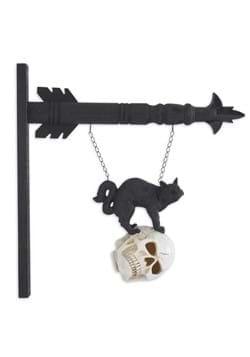"""8"""" Black Resin Cat on LED Skull Arrow Figure"""