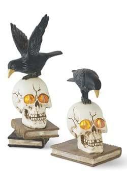 Set of 2 Resin LED Skull on Books w/Crow
