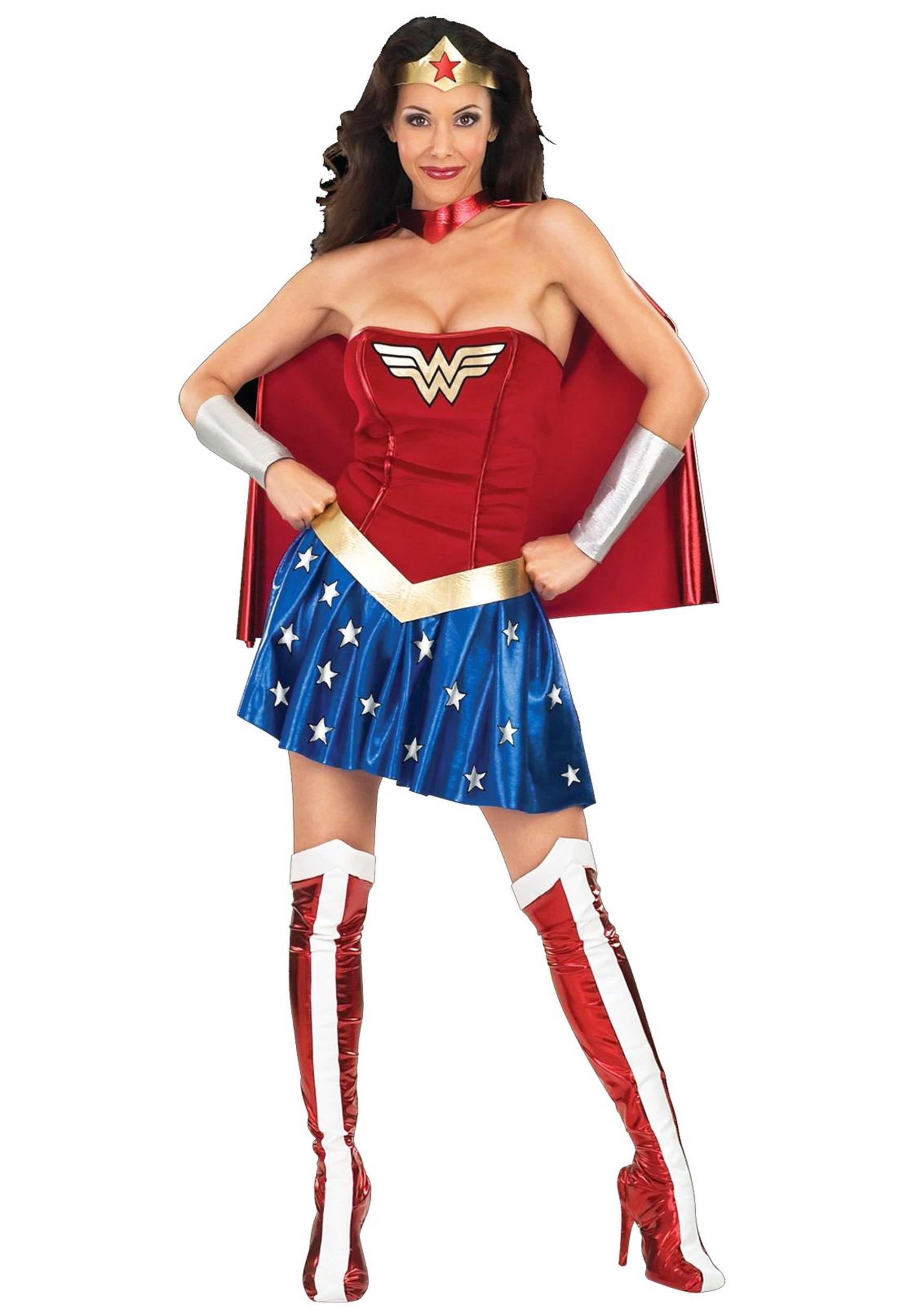 Adult Women Supergirl Superhero Wonder Woman Costume Halloween Fancy Dress